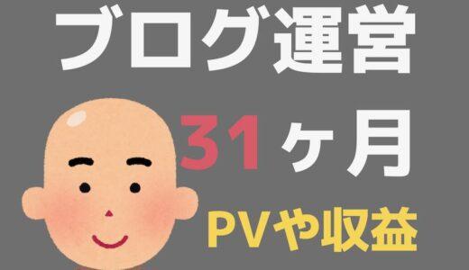 ブログ31ヶ月目のPV・記事数・収益